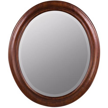 "Chelsea Vineyard Birch Wood Oval 30"" High Mirror"