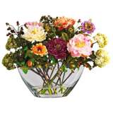 "Mixed Peony 18""W Faux Floral Bouquet in a Clear Glass Vase"