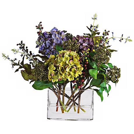 "12""H Mixed Hydrangea Faux Floral Bouquet in a Rectangle Vase"
