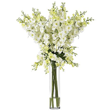 "White Delphinium 38""H Faux Floral Bouquet in a Glass Vase"