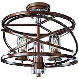 "Eternity 16 3/4"" Wide Bronze Water Glass Ceiling Light"