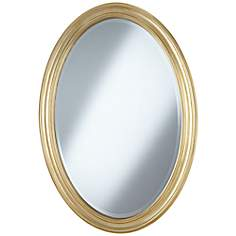 "Flanders Soft Gold Finish Oval 34"" High Wall Mirror"