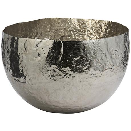 Xylo Hammered Nickel-Plated Large Brass Dish