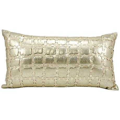 "Mina Victory Luminescence Light Gold 23"" x 12"" Pillow"