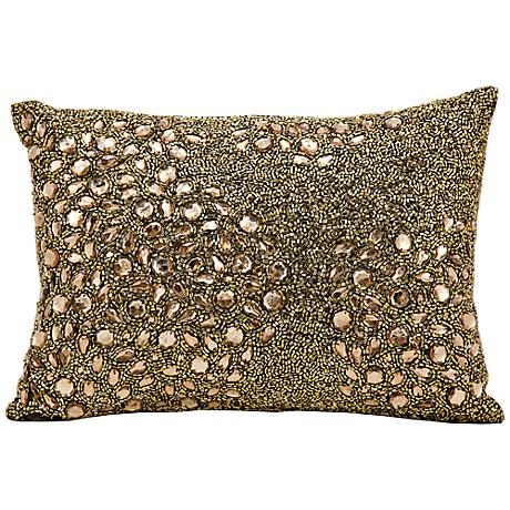 "Mina Victory Luminescence Amber 14"" x 10"" Beaded Pillow"
