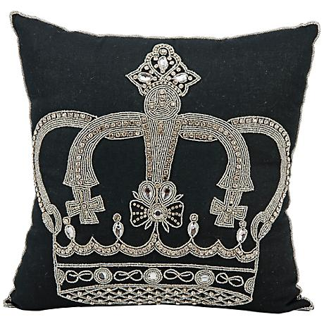 "Mina Victory Luminescence Jeweled Crown 16"" Square Pillow"