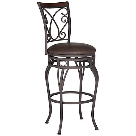 "Larsen Wood and Bronze Metal 30"" Swivel Barstool"