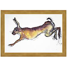 "Jumping Hare 15 3/4"" Wide Framed Wall Art"