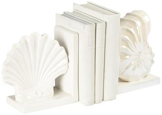 Brighton White Seashell Bookends Set (7F221) 7F221