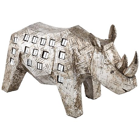 "Brushed Nickel Rhino 12 1/2"" Wide Sculpture"
