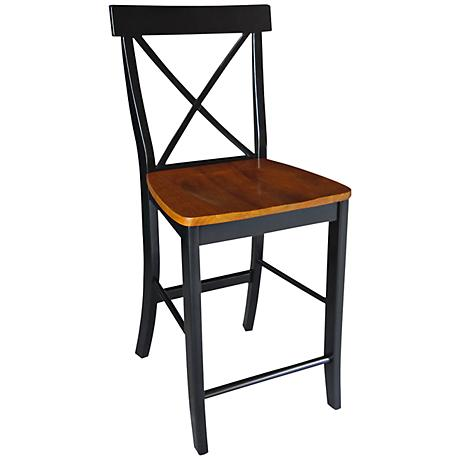 "X-Back 24"" Black and Cherry Armless Counter Stool"