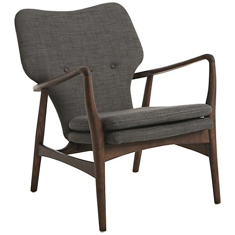 Elizabeth Gray Upholstered with Walnut Frame Club Chair
