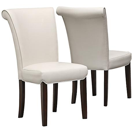 Landrew Taupe Faux Leather Side Chair Set of 2