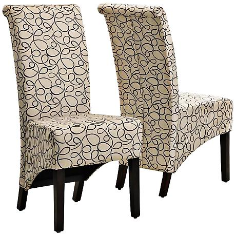 Urban Swirl Tan Fabric Parson Chair Set of 2