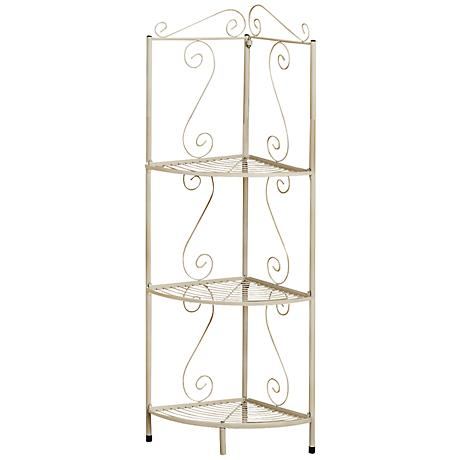 Chelmsworth 3-Shelf White Metal Corner Display Etagere