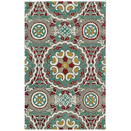 Kaleen Global Inspirations GLB08-75 Gray and Teal Wool Rug