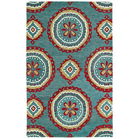 Kaleen Global Inspirations GLB09-91 Teal Wool Area Rug