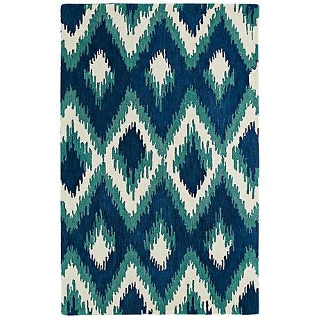 Kaleen Global Inspirations GLB10-17 Blue Diamonds Wool Rug
