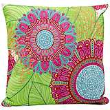 "Mina Victory Pink 18"" Square Floral Outdoor Pillow"