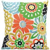 "Mina Victory Multi-Color 18"" Square Floral Outdoor Pillow"