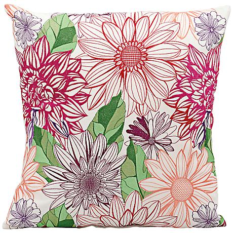 "Mina Victory Pink and Orange 18"" Square Outdoor Pillow"