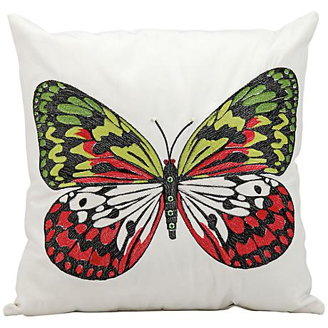 "Mina Victory Multi-Color Butterfly 18"" Square Outdoor Pillow"