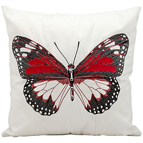 "Mina Victory Black Butterfly 18"" Square Outdoor Pillow"