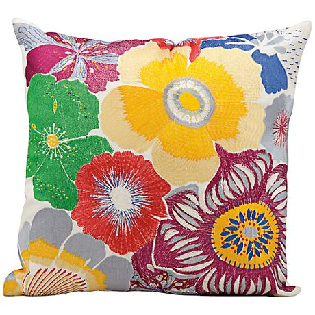 "Mina Victory Large Floral Print 18"" Square Outdoor Pillow"