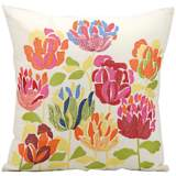 "Mina Victory Floral 18"" Square Outdoor Decorative Pillow"