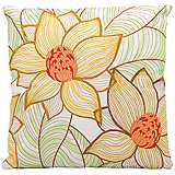 "Mina Victory Yellow and Green 18"" Square Outdoor Pillow"