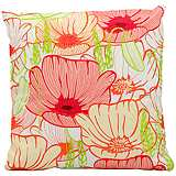 "Mina Victory Bright Pink 18"" Square Floral Pillow"