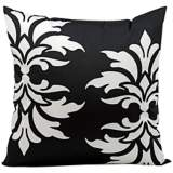 "Mina Victory Fleur-de-Lys 20"" Square Black Outdoor Pillow"