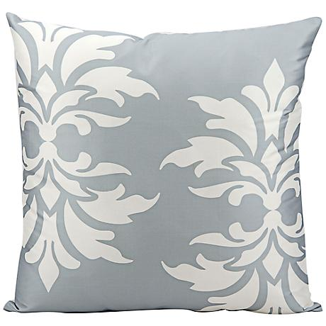 "Mina Victory Fleur-de-Lys 20"" Square Gray Outdoor Pillow"