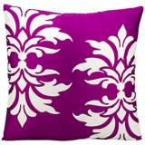 "Mina Victory Fleur-de-Lys 20"" Square Lilac Outdoor Pillow"