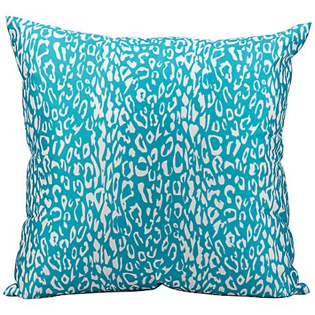 "Mina Victory Leopard 20"" Square Turquoise Outdoor Pillow"