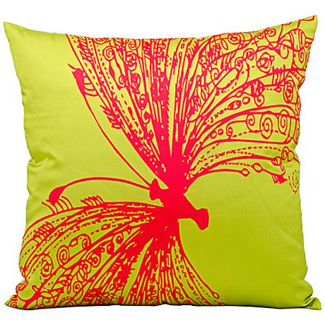"Mina Victory Butterfly 18"" Square Lime Green Outdoor Pillow"