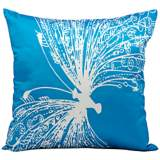 "Mina Victory Butterfly 18"" Square Turquoise Outdoor Pillow"