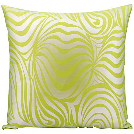 "Mina Victory Wave 18"" Square Lime Green Outdoor Pillow"