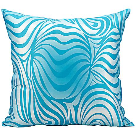 "Mina Victory Wave 18"" Square Turquoise Blue Outdoor Pillow"