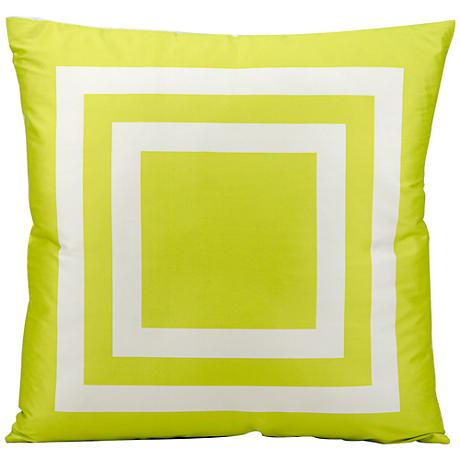 "Mina Victory Geometric 20"" Square Green Outdoor Pillow"
