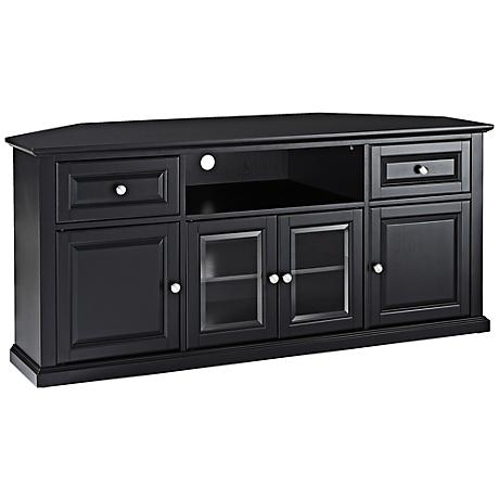 "Alexandria 4-Door Black 60"" Corner TV Stand"