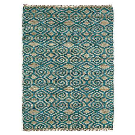 Kaleen Kenwood KEN02-91 Teal Blue Jute Reversible Area Rug