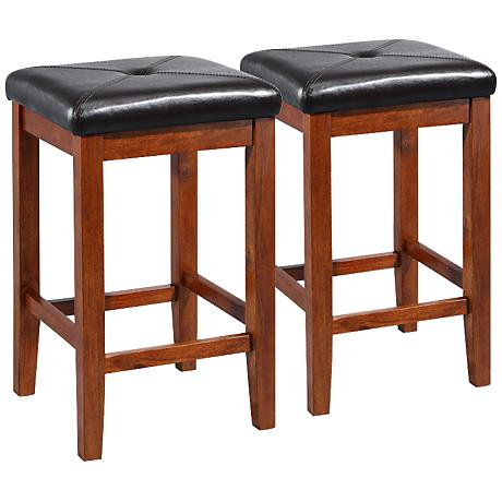 "Sutton Upholstered Cherry 24"" Counter Stools Set of 2"