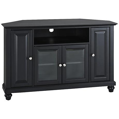 "Cambridge Raised Panel 4-Door Black 48"" Corner TV Stand"