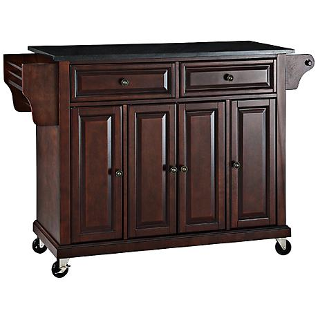 Dover Black Granite Top Mahogany Kitchen Island Cart