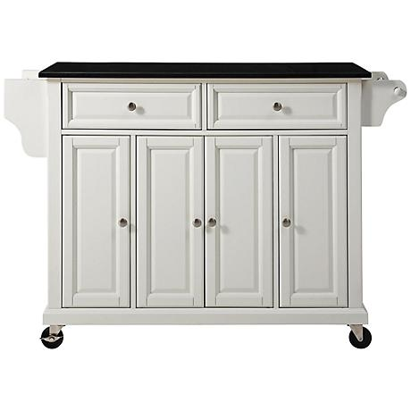 Dover Black Granite Top White Door Kitchen Island Cart