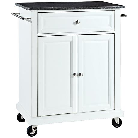 York Black Granite Top White 2-Door Kitchen Island Cart