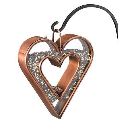 Good Directions Heart Fly-Thru Bronze Bird Feeder
