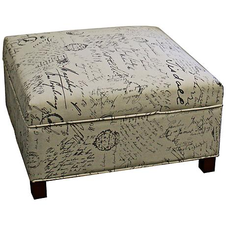 Flynn Old World Brown Canvas Squared Storage Ottoman