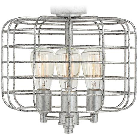 Industrial Cage Galvanized Steel Ceiling Fan Light Kit